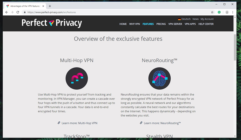 Perfect Privacy VPN Prominent Features