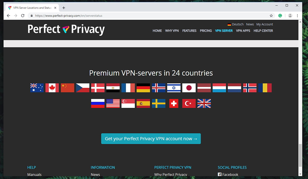 Perfect Privacy VPN Server Count
