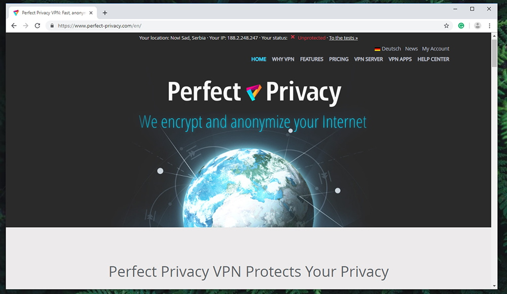 Perfect Privacy VPN Website