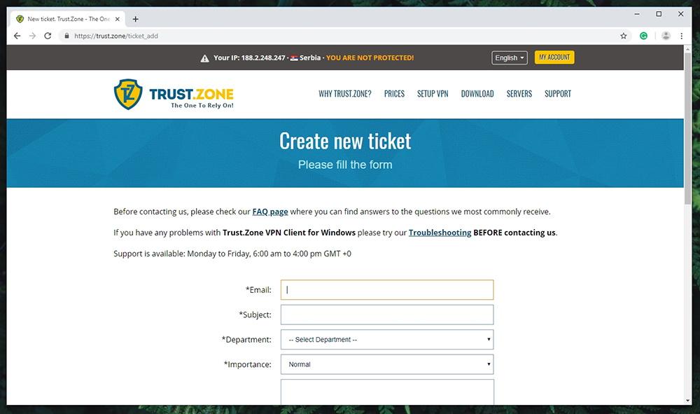 Trust.Zone VPN - Customer Support