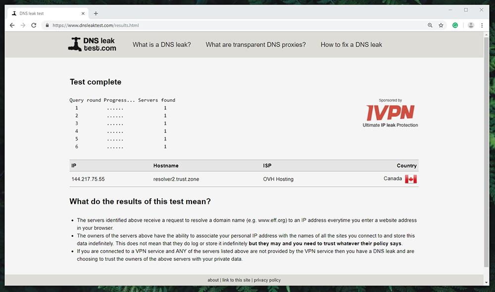 Trust.Zone VPN - DNS Leak Test