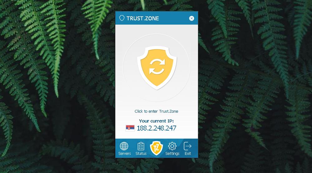 Trust.Zone VPN - Home Screen UI