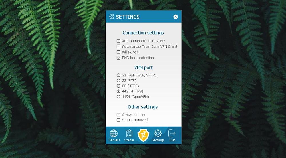 Trust.Zone VPN - Settings