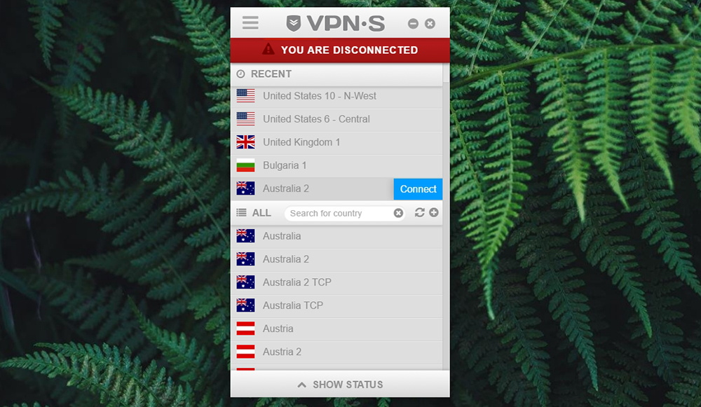 VPNSecure Home Screen UI