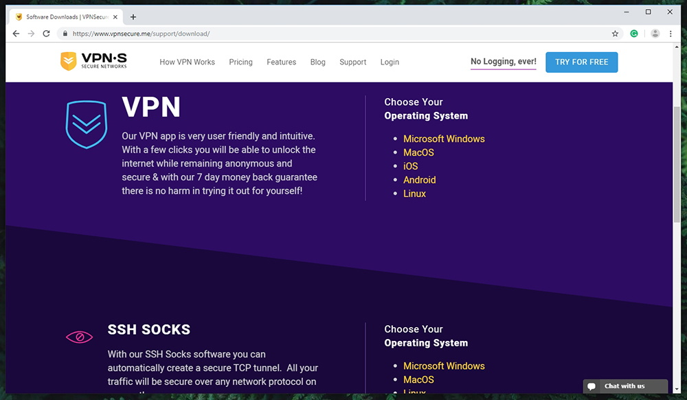 VPNSecure Supported Platforms
