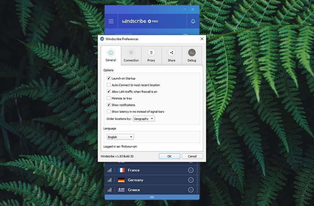 Windscribe VPN General Options