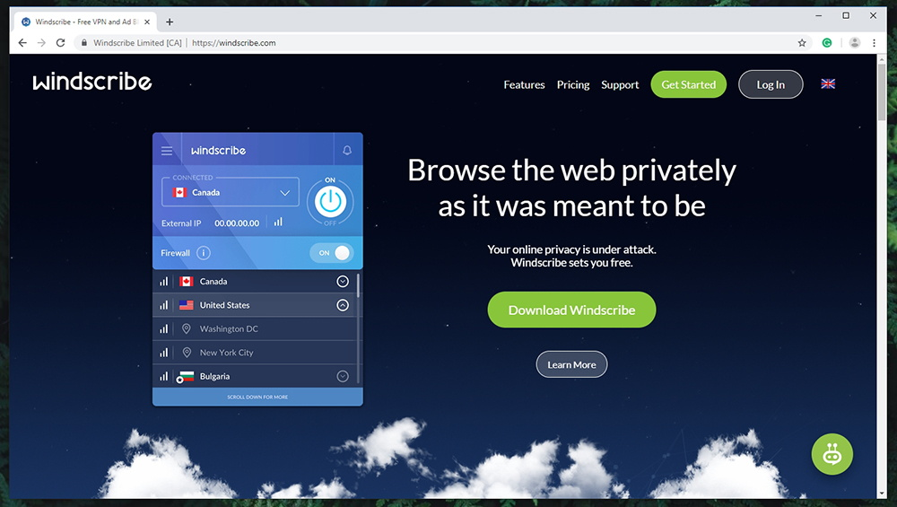 Windscribe VPN Website