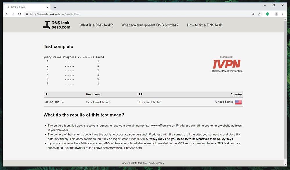 Zenmate VPN - DNS Leak Test