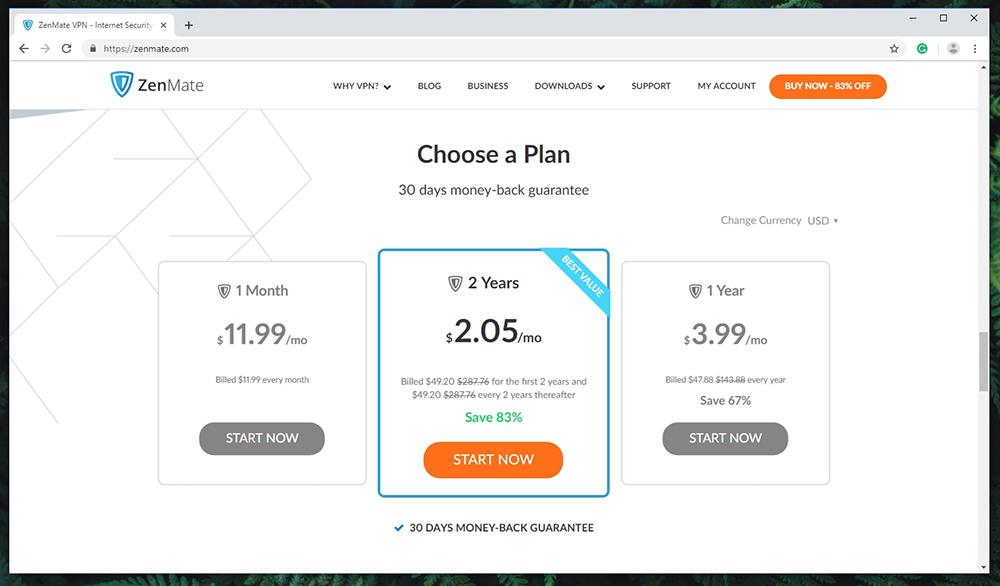 Zenmate VPN - Pricing