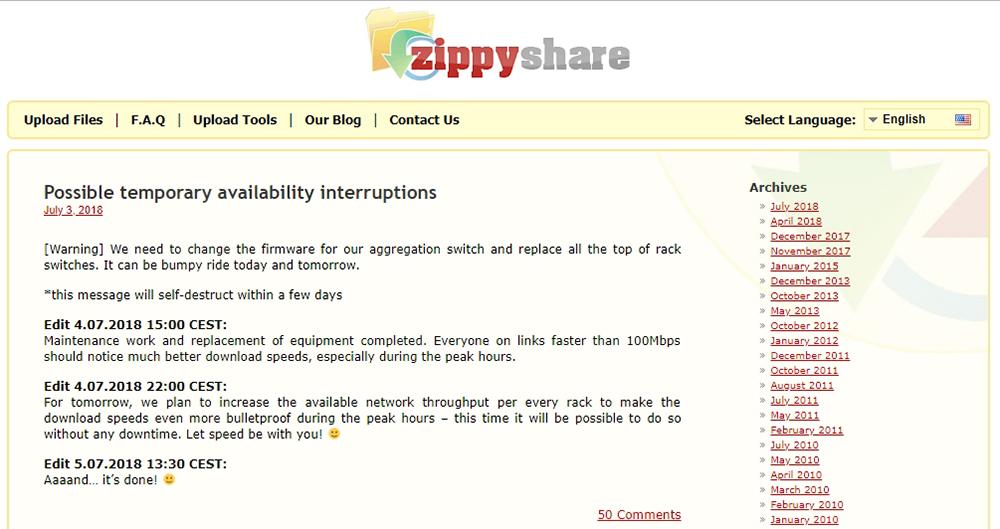 Zippyshare Blog Section
