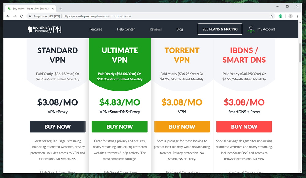 ibVPN Review - Pricing