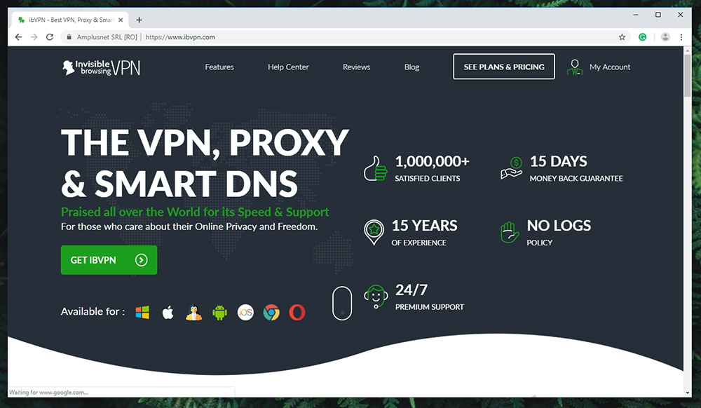 ibVPN Review - Website
