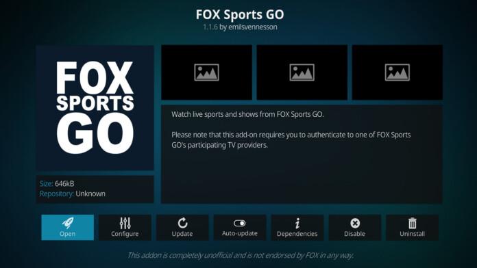 Fox Sports Go Kodi Addon