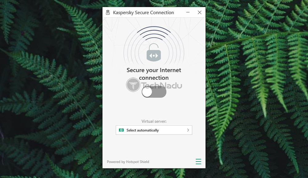 Kaspersky Secure Connection Home Screen