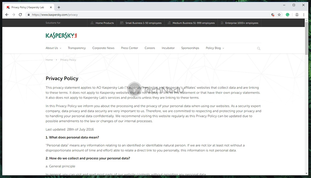 Kaspersky Secure Connection Privacy Policy