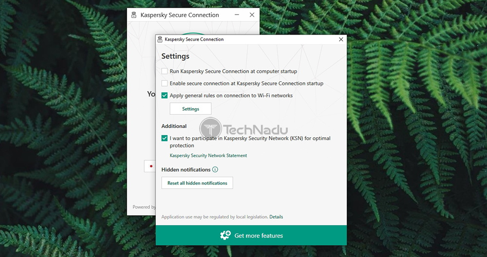 Kaspersky Secure Connection Settings Panel