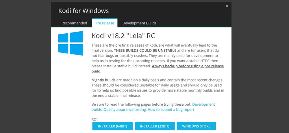 Kodi 18.2 RC Windows Download