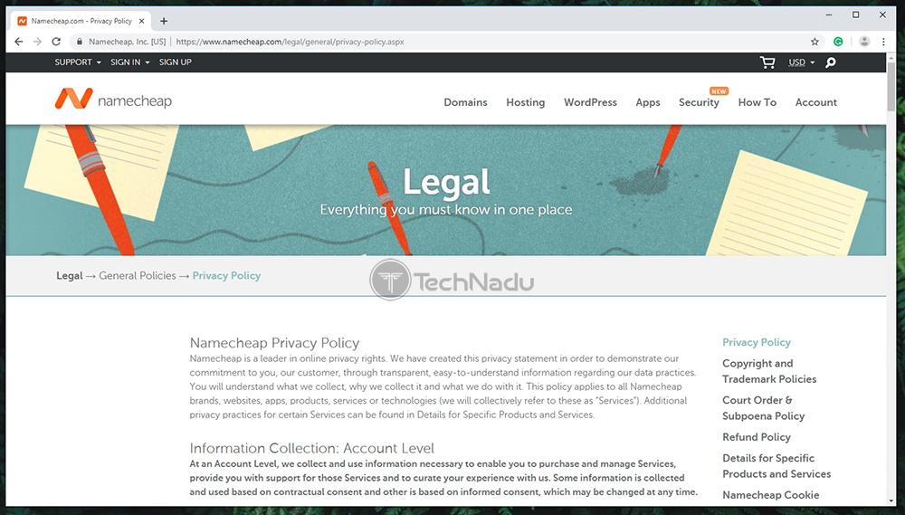 Namecheap VPN Privacy Policy