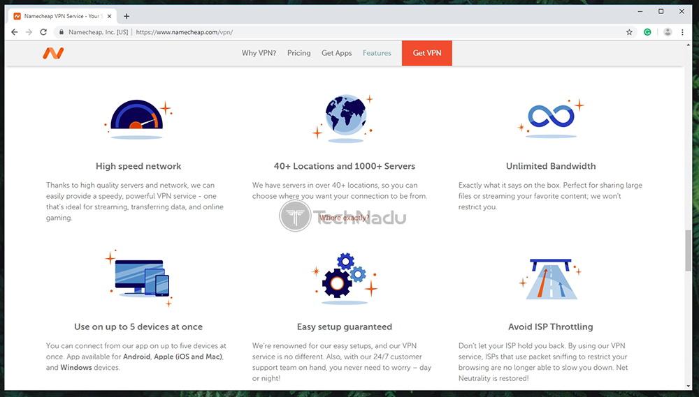 Namecheap VPN Prominent Features