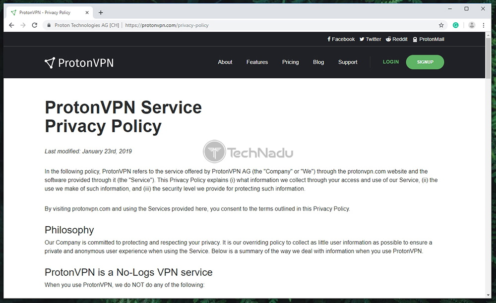 ProtonVPN Privacy Policy