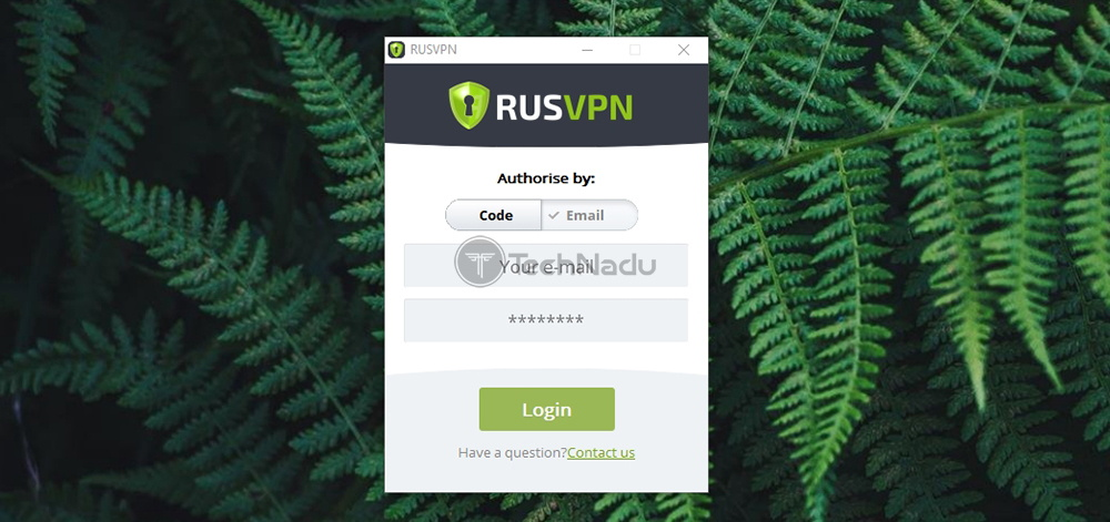 RUSVPN Login Screen