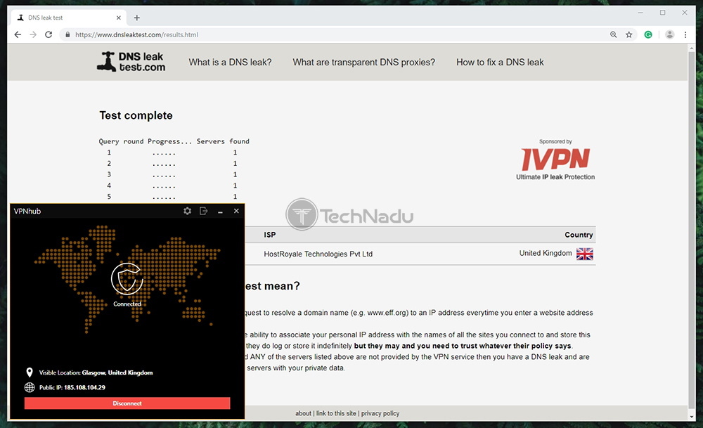 VPNhub DNS Leak Test