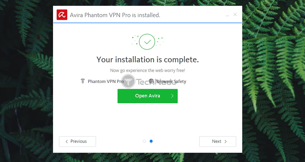 Avira VPN Installation Screen