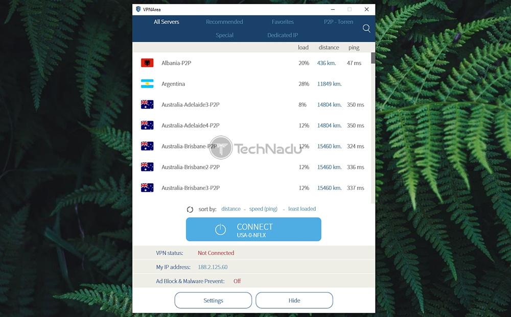 Home Screen UI of VPNArea
