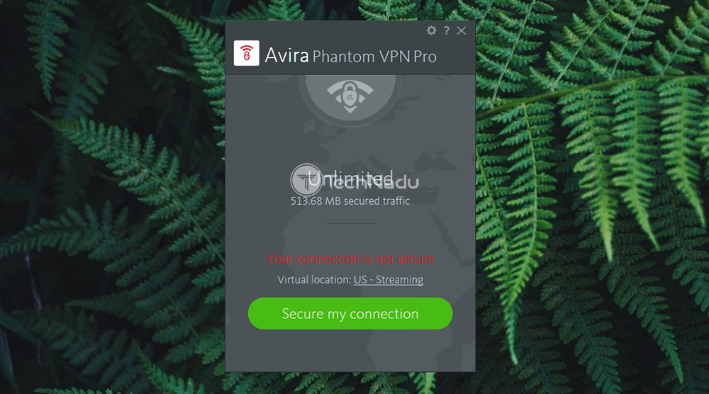 Home Screen of Avira Phantom VPN Pro