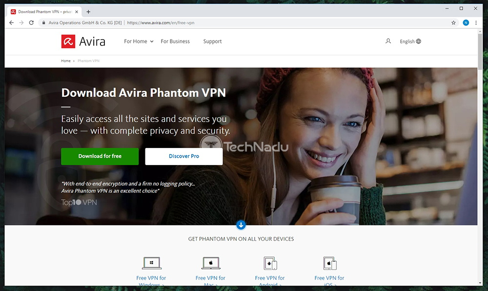Link to Avira Phantom VPN Pro Website
