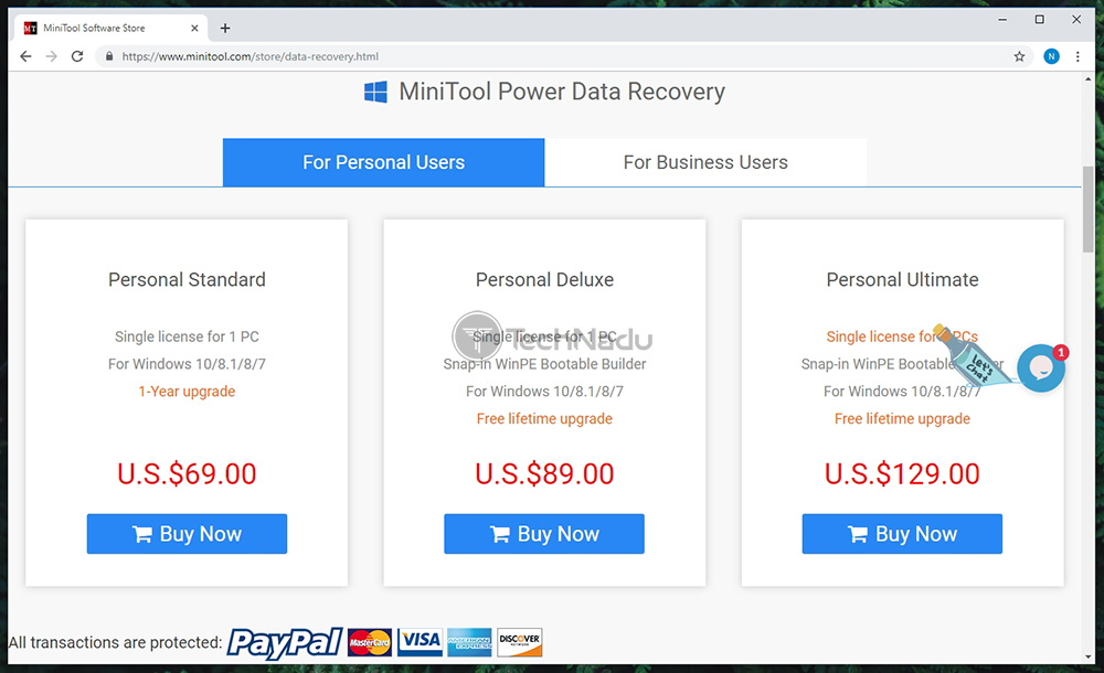 Link to MiniTool Power Data Recovery Pricing Page