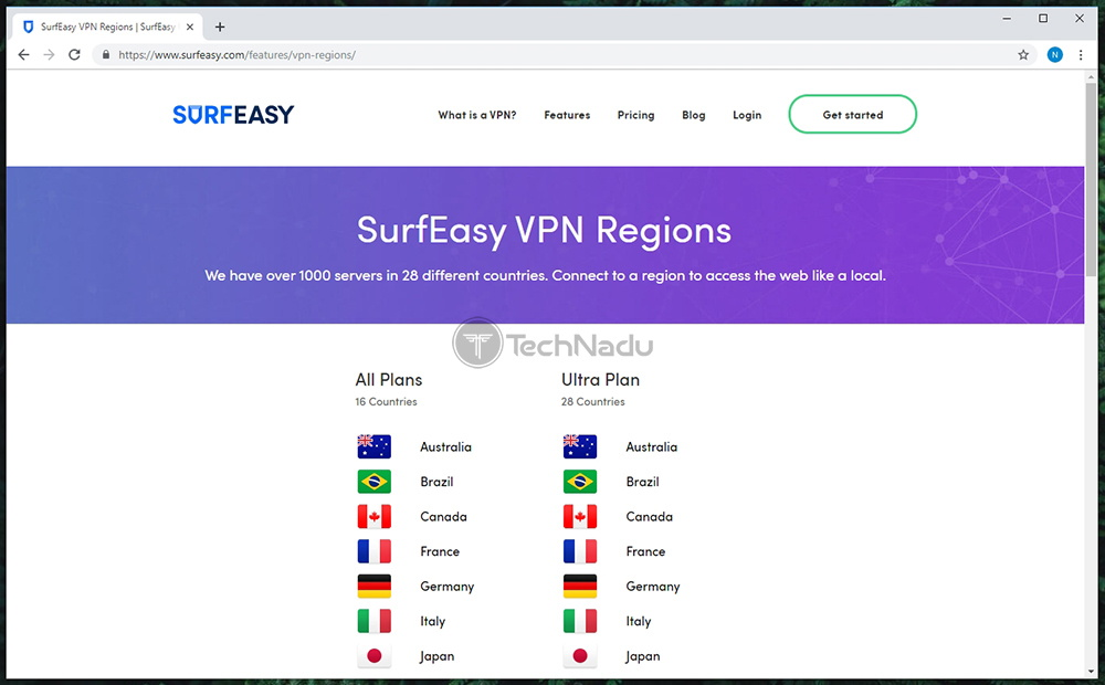 List of Servers Offered by SurfEasy