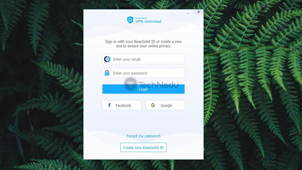 Login Screen UI of VPN Unlimited