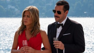 Still from Murder Mystery with Jennifer Aniston and Adam Sandler
