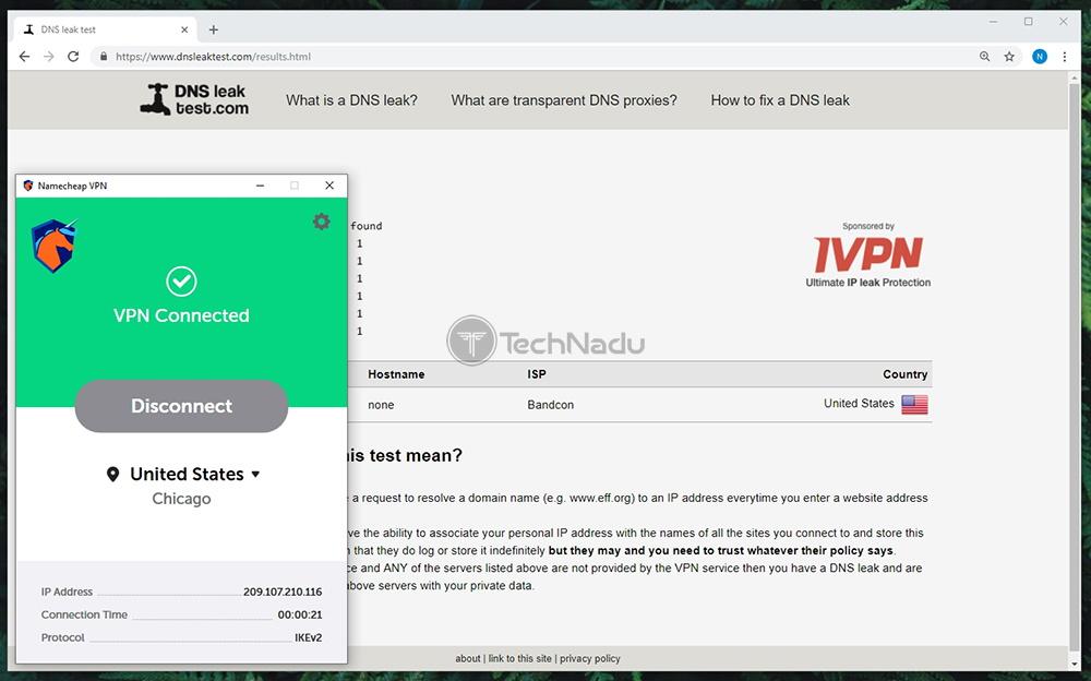 Namecheck VPN Passes DNS Leak Test