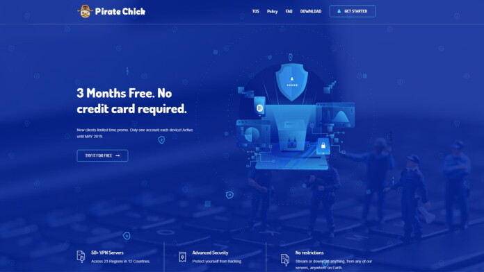 Pirate Chick VPN Website UI