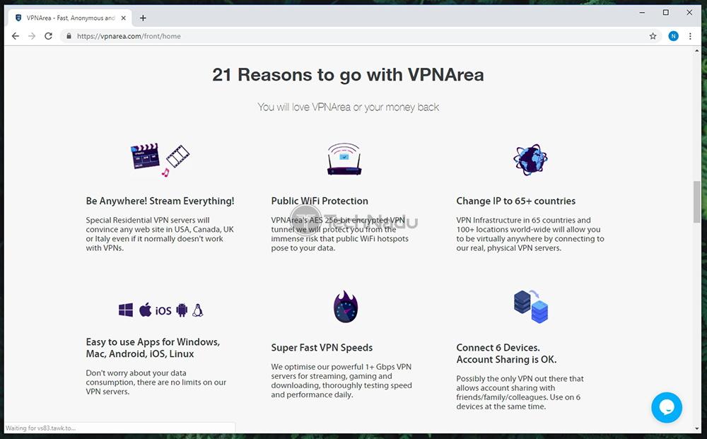 Prominent Features List of VPNArea