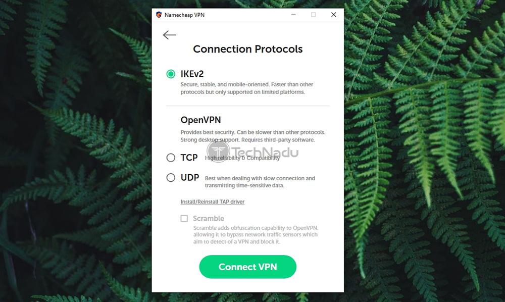 Protocol Selector Panel Namecheap VPN Windows