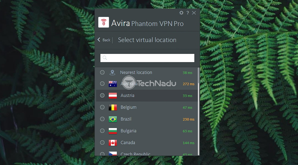 Server Selection Avira Phantom VPN Pro