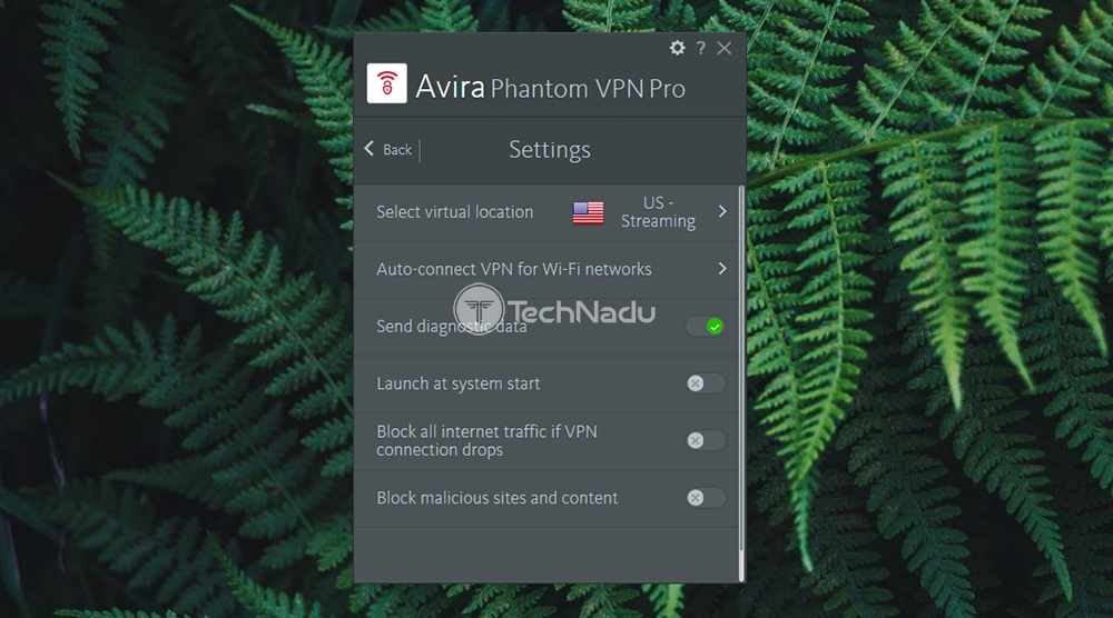 Settings Panel UI Avira Phantom VPN Pro