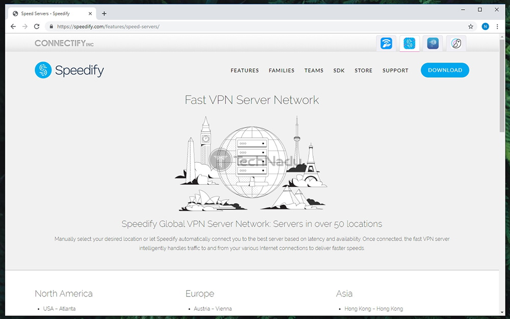 Speedify Available Servers