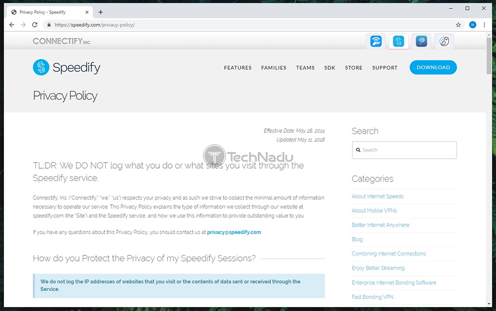 Speedify Connectify Privacy Policy