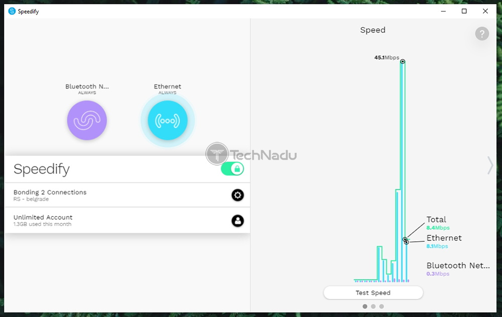 Speedify Showing Real Time Statistics