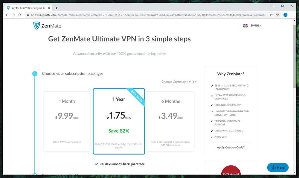 Zenmate VPN Pricing