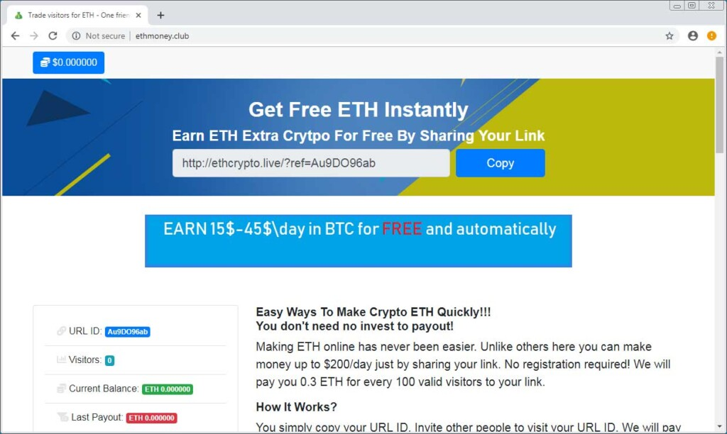 scam promoting page