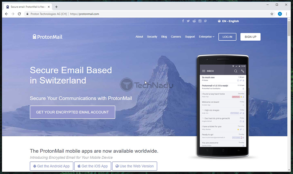 Link to ProtonMail Website