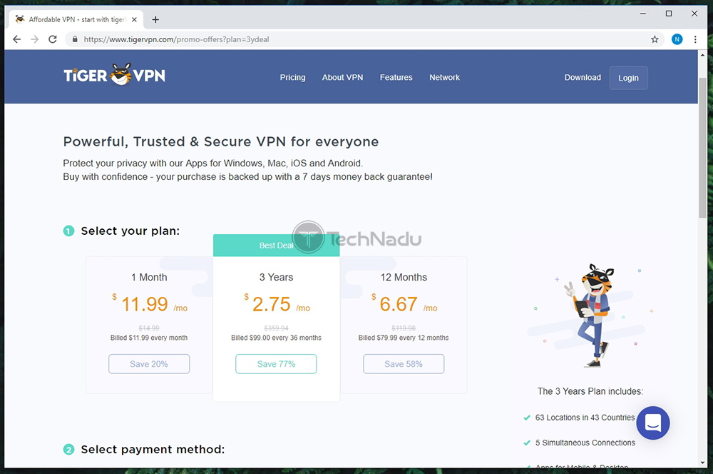 Link to TigerVPN Pricing Page