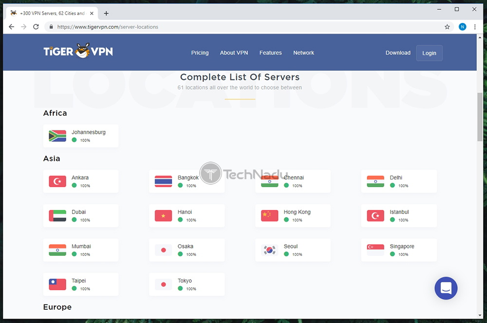 Server Count TigerVPN
