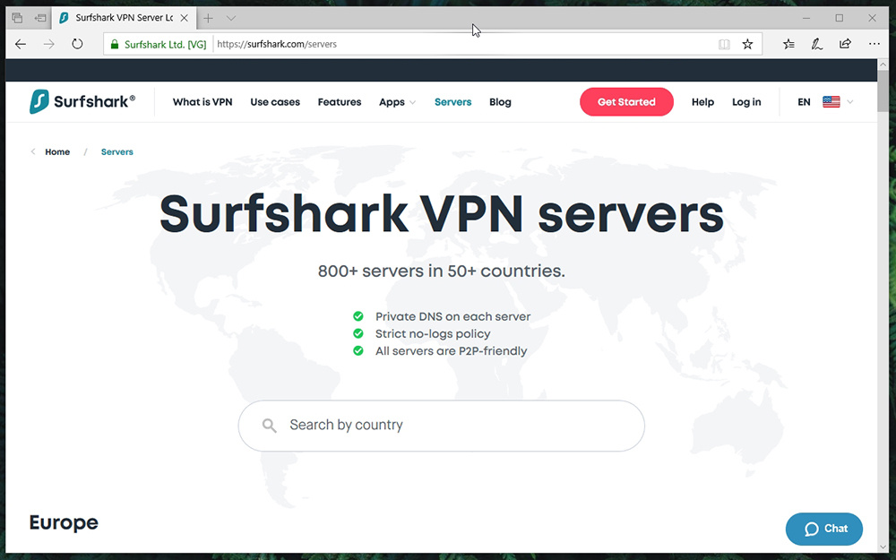 Server Info Page Surfshark Website