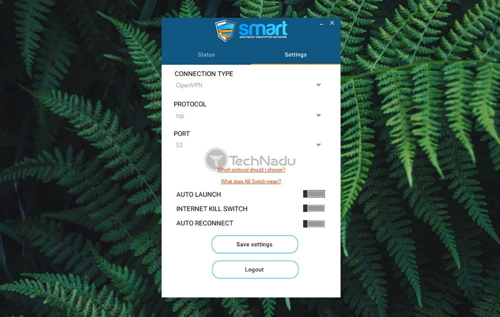 Settings Panel UI Smart DNS Proxy VPN